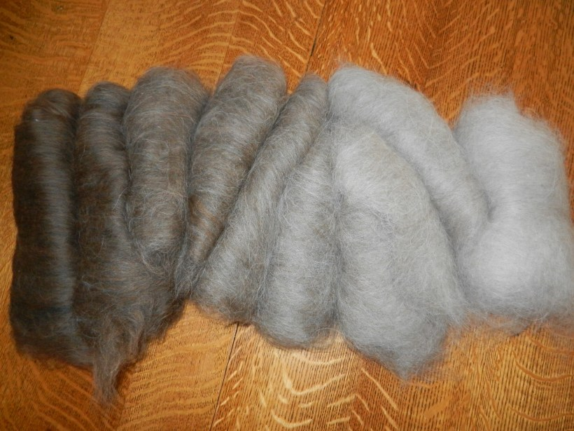 Handmade carded gradient blend where the colors shift from brown to grey by about 11% per batt.
