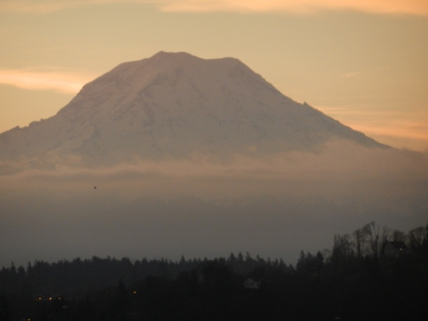 A sunset view of Mt. Ranier, from my hotel window, Marona Fiber Arts Festival, 2015