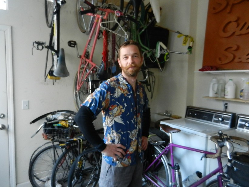 More Overall Awesomeness. Leaving for the Annual Spring Ride, 2012. In his chicken shirt.