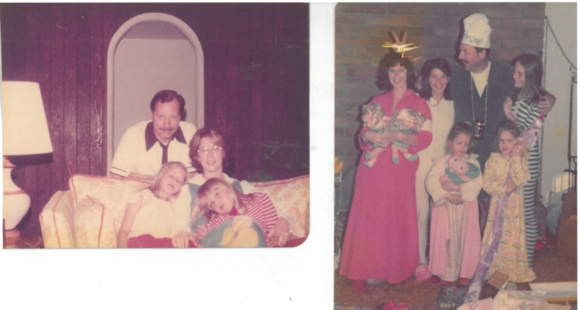LEFT: Mom, Dad, me right, Wendy left; 1976. RIGHT: Christmas, 1974. Mom, Dad, older sisters Lori, left, and Juli, right; Wendy, right, and me, left.