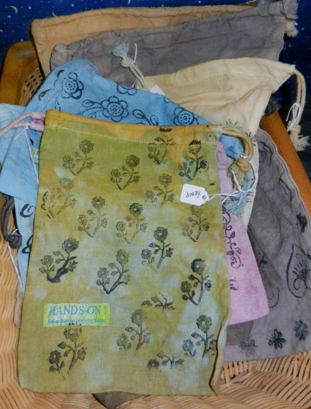 Yellow-green ecoprint hemp project bag hand-dyed with natural dyes.