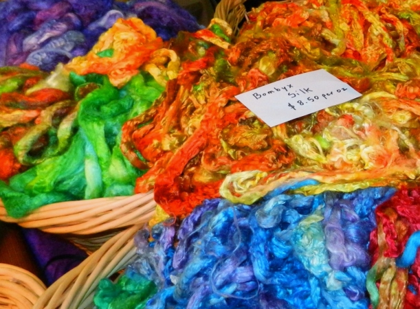 Brilliant red, blue, and green hand-dyed bombyx silk by Janet Hepler, Nebo Rock Textiles.