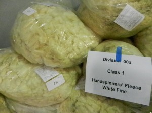 Mid-shot of several large bags filled with fine, white fleece for judging.