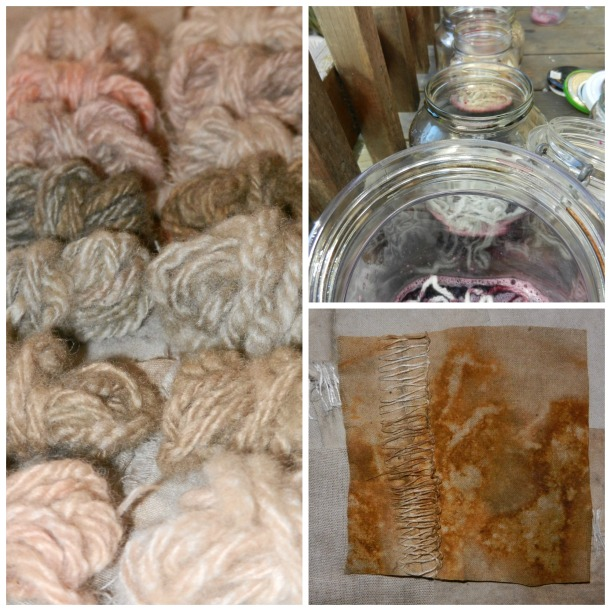 tiny balls of lavendar and pink yarns, closeup on rust-dyed fabric, dye jars