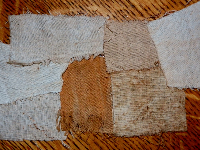 Lichen-dyed cotton.  Light tans and beiges, barely any color at all. Bleck!