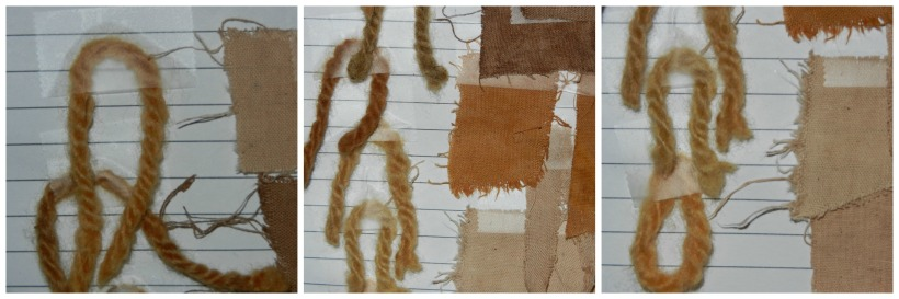 Closeups on tiny, lichen-dyed samples of wool and cotton. Colors range from ecru, to honey, bronze, and maple.