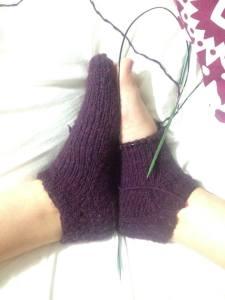 feet and purple merino socks!