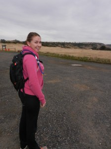 Lizzie and camelbak, ready for a hike on North Rim Trail, Bidwell Park.