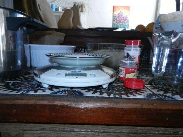 scale, mordants, dishes of soaking yarn