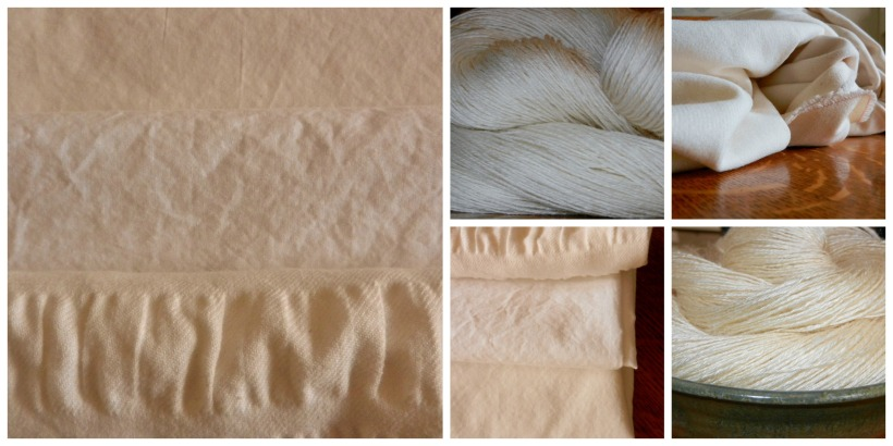 White and cream cottons, wools, and silk.