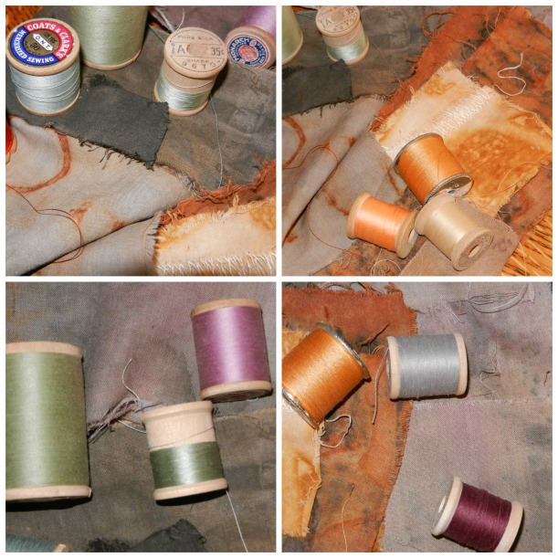 Charcoal, lavender, taupe, olive, and rust-colored naturally dyed fabric samples with orange, taupe, and burgundy, and olive thread.