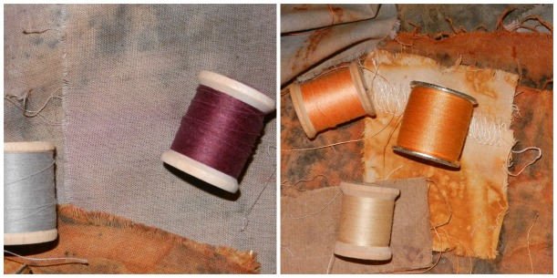Charcoal, lavender, taupe, and rust-colored naturally dyed fabric samples with orange, taupe, and burgundy thread.