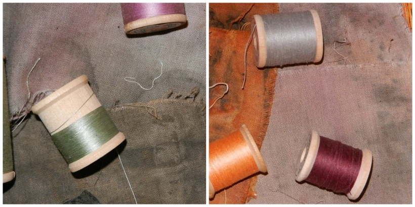 Lavender, blue-grey, olive, light burgundy, and rust-colored naturally dyed fabric samples with orange, steel, lavender, and olive thread.