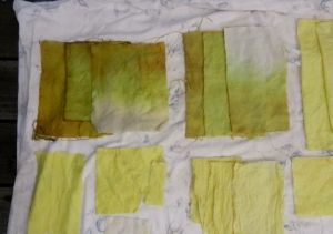 Top row, two types of wool. Bottom left, linen. Bottom right, muslin.