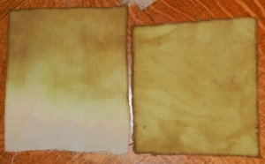 Nailhead wools, left is dip dyed, right just plopped into the dyebath.