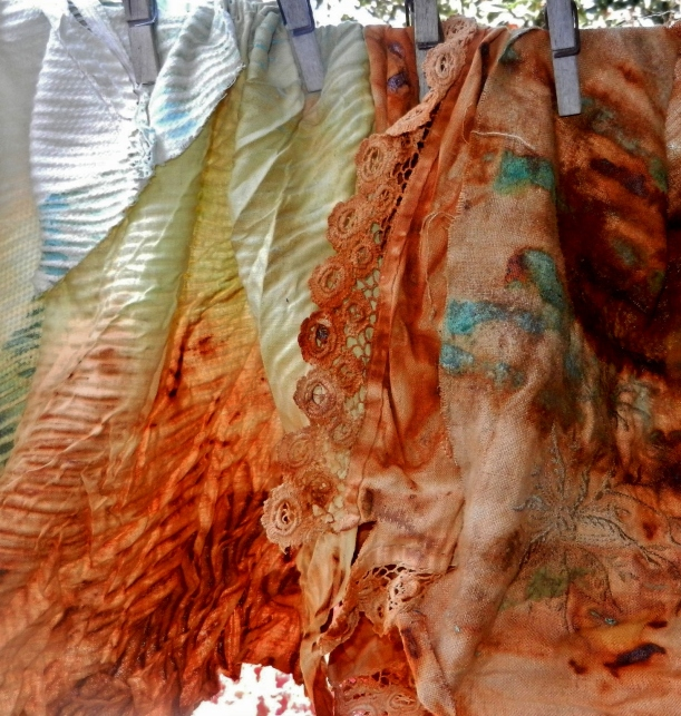 rust dyes on linen and cotton